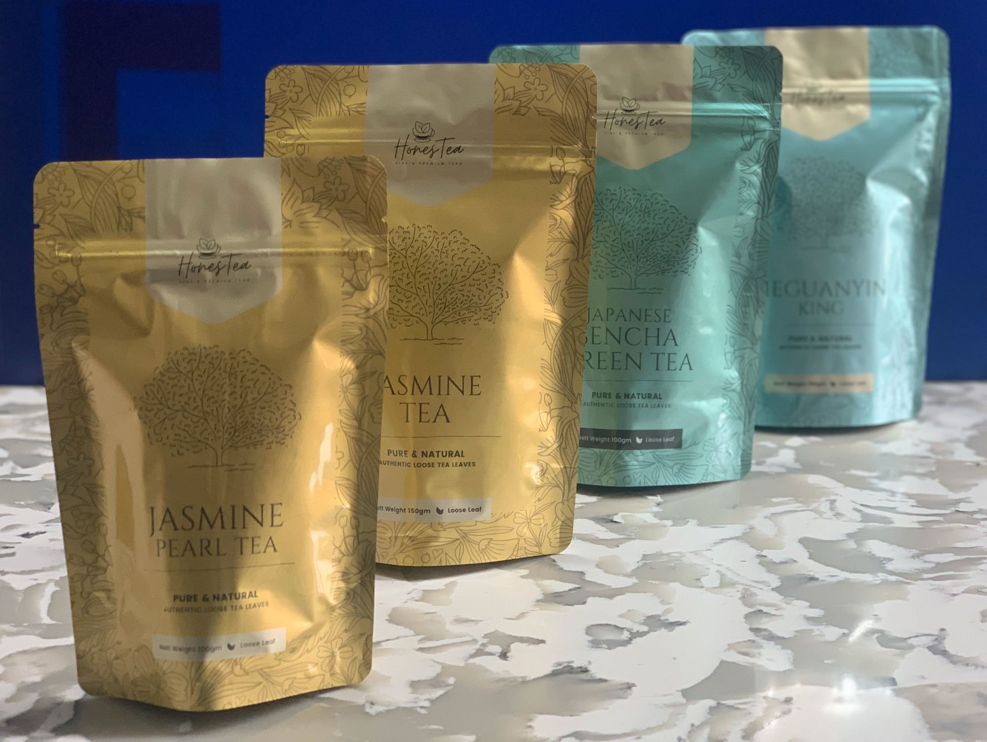 tea and powder packaging with metallic effect