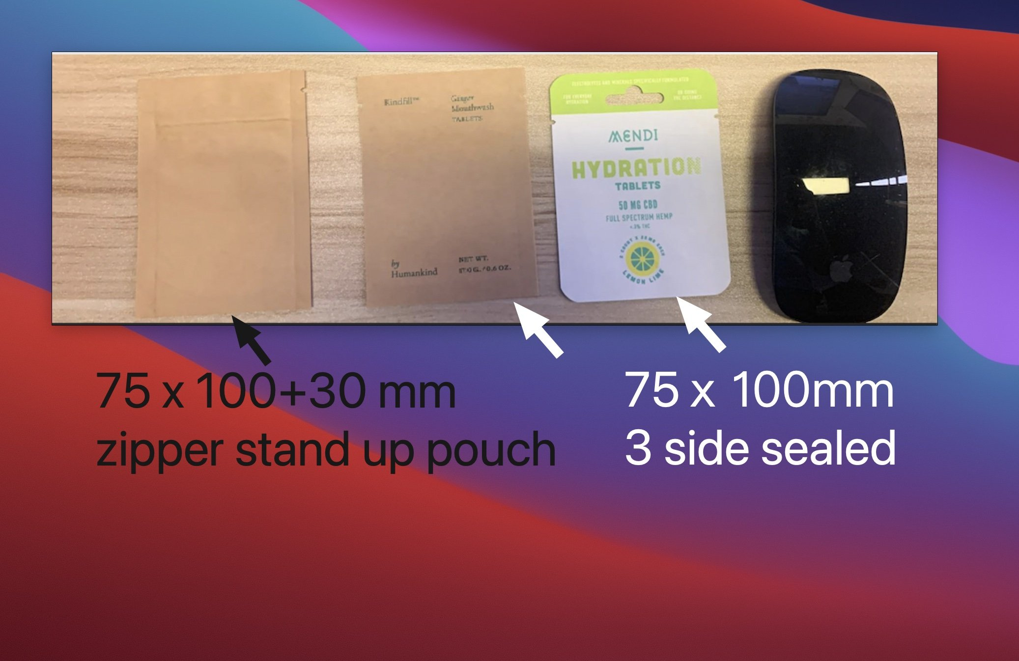 smallest compostable flat and stand up pouch